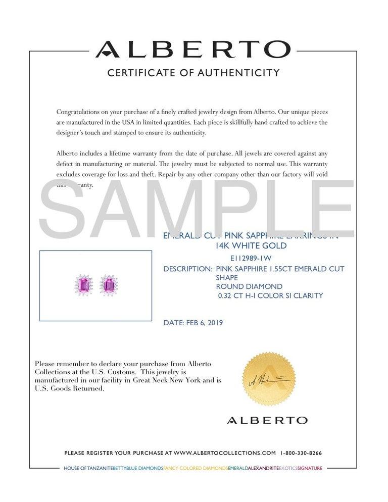 Women's Emerald Cut Pink Sapphire Diamond Earrings For Sale