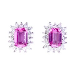 Emerald Cut Pink Sapphire Stud Earrings with Diamond Halo