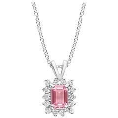 Emerald Cut Pink Sapphire Diamond Pendant