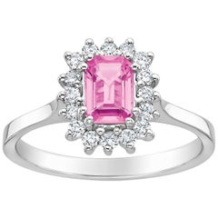 Emerald Cut Pink Sapphire Halo Engagement Ring