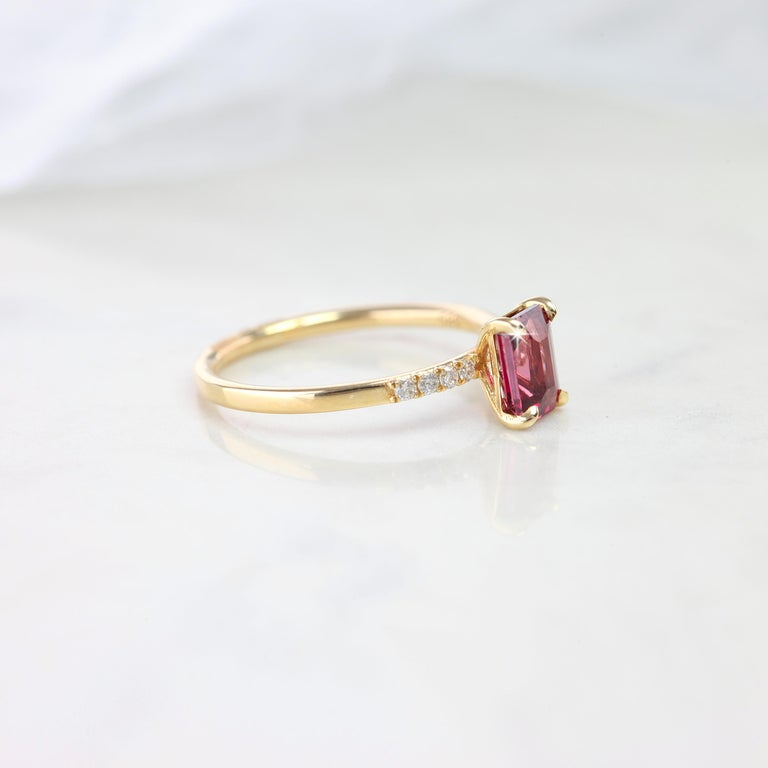 Pink Tourmaline Dainty Ring, Emerald Cut Pink Tourmaline Dainty Ring With Pave Diamond Setting created by hands from ring to the stone shapes. Good ideas of statement ring or stackable ring gift for her.  I used brillant diamonds pave setting to