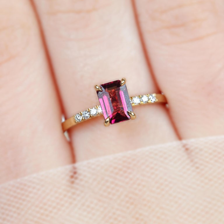 Victorian Emerald Cut Pink Tourmaline Dainty Ring with Pave Diamond Setting For Sale
