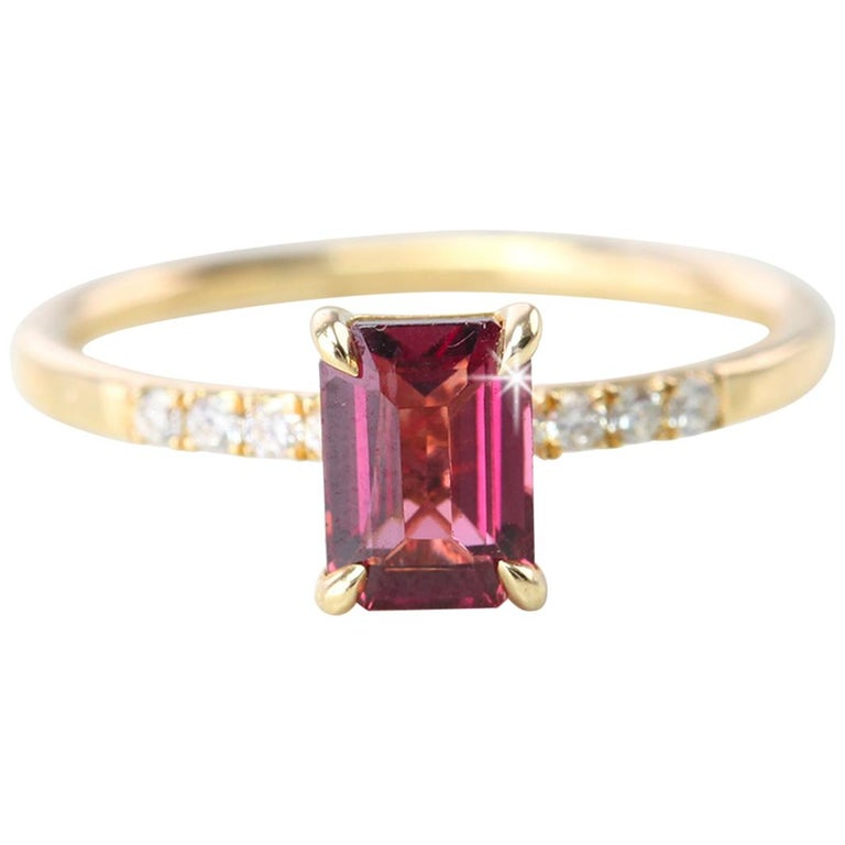 Emerald Cut Pink Tourmaline Dainty Ring with Pave Diamond Setting For Sale