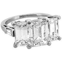 Emerald Cut Platinum 3-Stone Diamond Estate Engagement Ring 5.40 Carat