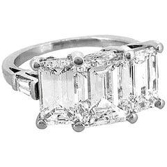 Emerald Cut Platinum 3-Stone Diamond Estate Engagement Ring 5.40 Carat TW