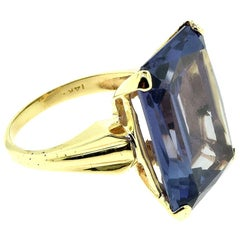 Emerald Cut Purple Sapphire Yellow Gold Cocktail Ring