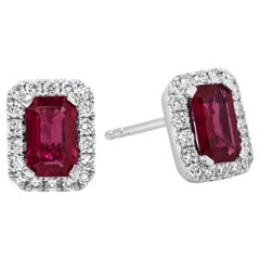 Emerald Cut Red Ruby and Diamond Halo Stud Earrings