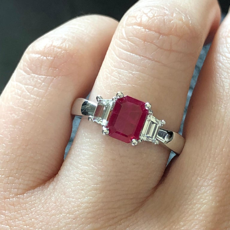 Emerald Cut Ruby and Trapezoid Diamond Three-Stone Ring For Sale 1