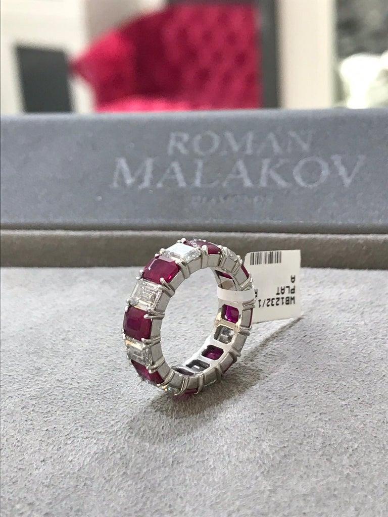 Women's Roman Malakov Emerald Cut Ruby Diamond Platinum Eternity Wedding Band For Sale