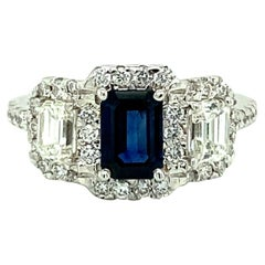 Emerald Cut Sapphire and Diamond Ring, 18kt White Gold Engagement Ring