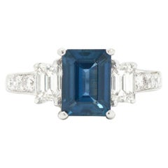 Emerald Cut Sapphire & Diamond Engagement Ring 3 Stone Trilogy Natural Gemstone