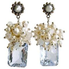 Emerald Cut Sky Blue Topaz Seed Pearl Rainbow Moonstone Cluster Earrings, Diana