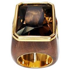 Emerald Cut 17.5ct Smoked Quartz 18k Gold in African Ebony Ring
