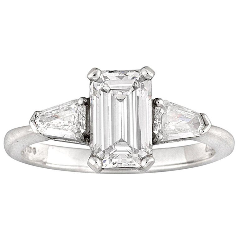 Emerald-Cut Solitaire Diamond Ring For Sale