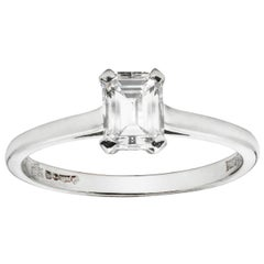 Emerald-Cut Solitaire Single Stone Diamond Ring