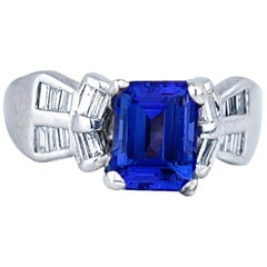 Emerald Cut Tanzanite and Baguette Diamonds Ring Platinum