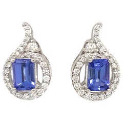 Emerald Cut Tanzanite Diamond Earrings 1.54 Carat 14 Karat White Gold