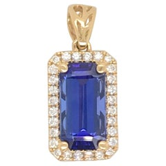 Emerald Cut Tanzanite Diamond Pendant 3.67 Carat 18 Karat Yellow Gold