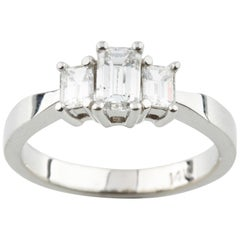 Emerald Cut Three-Stone Diamond Ring .96 Carat TCW in White Gold