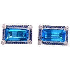 Emerald Cut Topaz, Blue Sapphire and Diamond Cufflinks