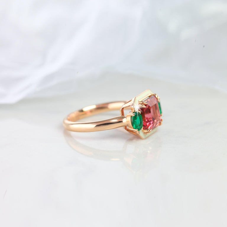Emerald Cut Tourmaline Ring, Tourmaline and Emerald Fancy Ring - Tourmaline Ring, Emerald Cut Tourmaline Ring, Tourmaline and Emerald Fancy Ring,  Emerald Cut Tourmaline and Oval Cut Emerald Fancy Ring with 14K Solid Rose Gold created by hands with