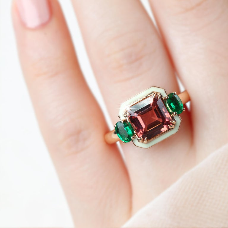 Art Deco Emerald Cut Tourmaline Ring, Tourmaline and Emerald Fancy Ring For Sale