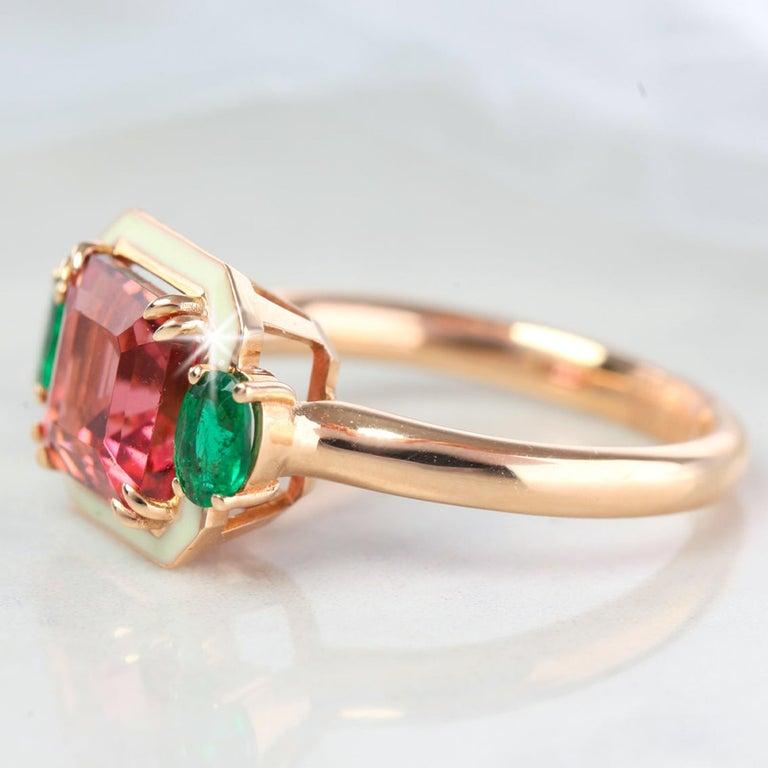 Cushion Cut Emerald Cut Tourmaline Ring, Tourmaline and Emerald Fancy Ring For Sale