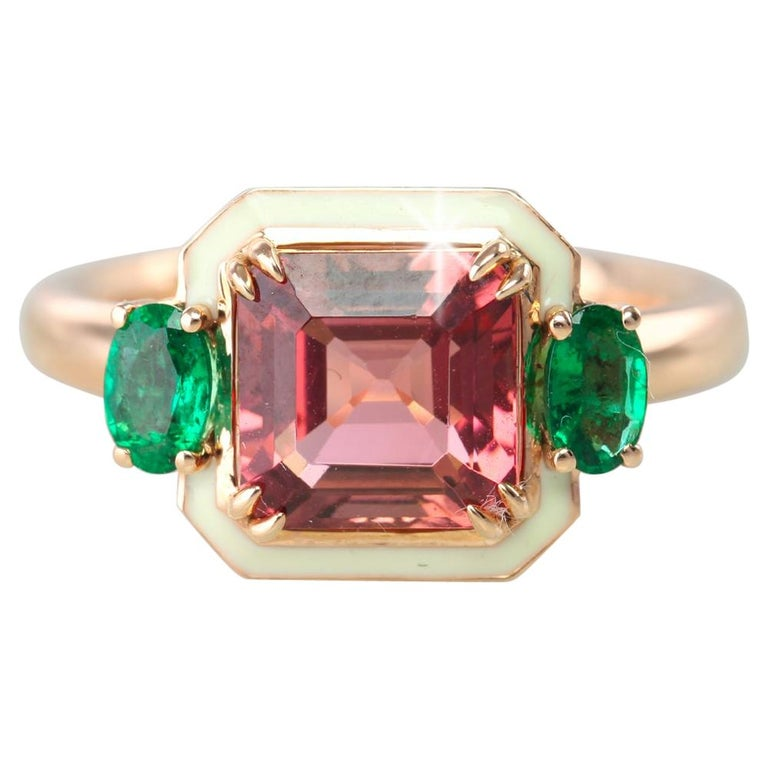 Emerald Cut Tourmaline Ring, Tourmaline and Emerald Fancy Ring For Sale
