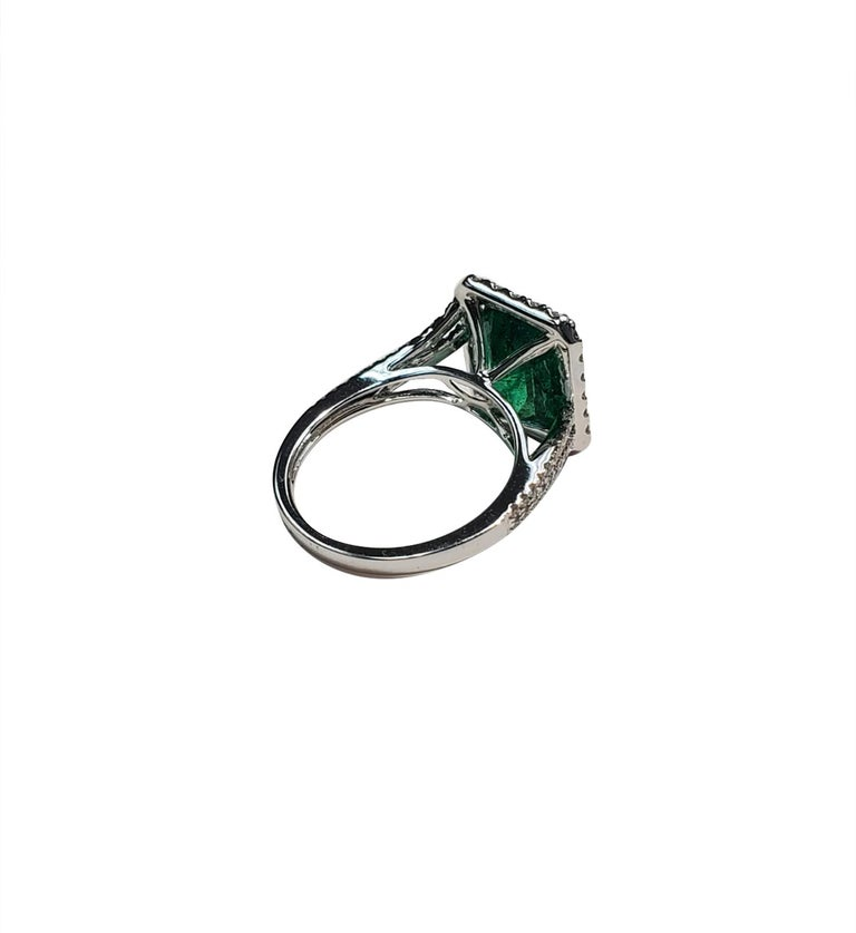 Women's Emerald Cut and White Diamond Ring For Sale