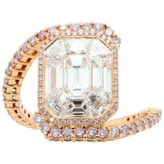 Emerald Cut White Diamond Rose Gold Cluster Ring
