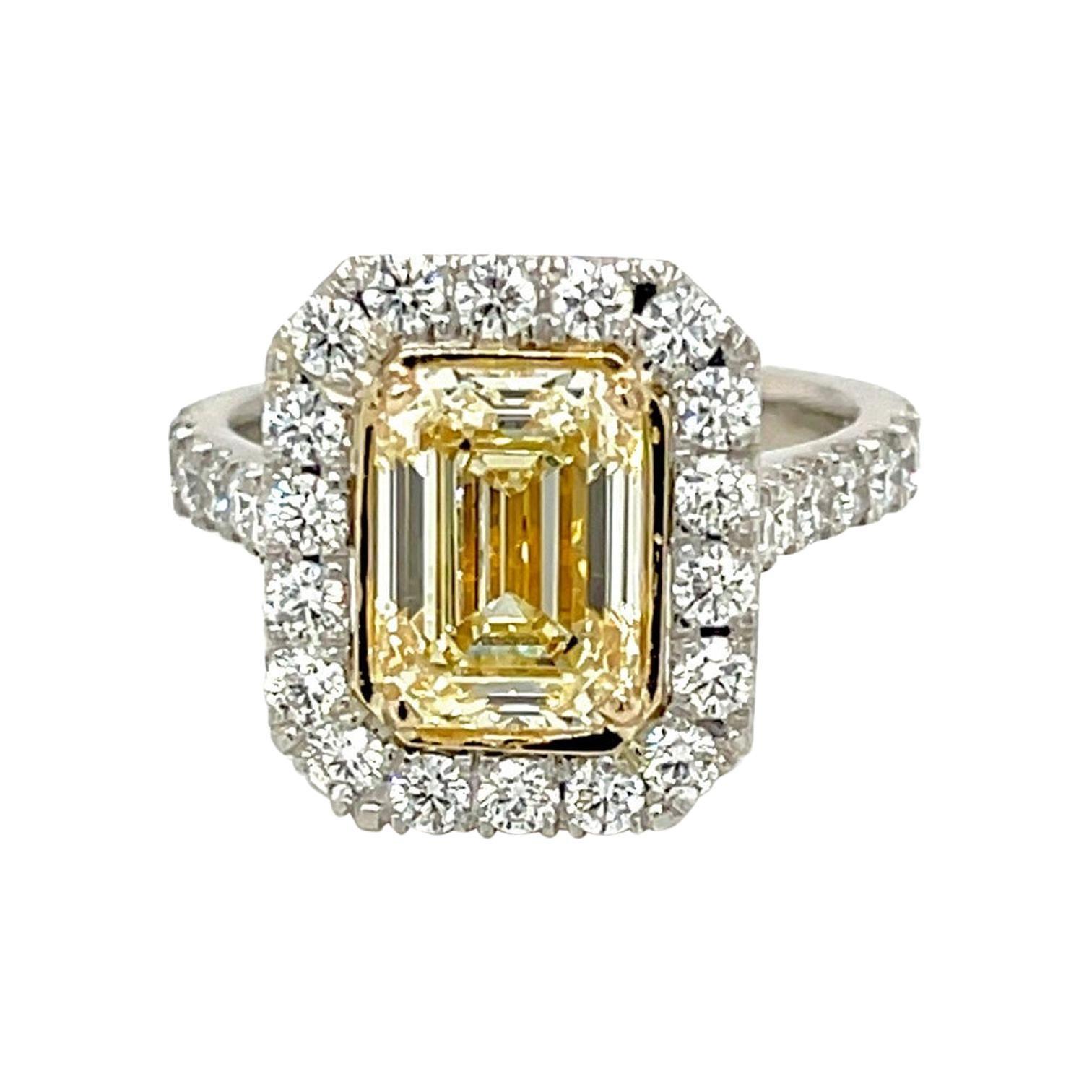 Emerald Cut Yellow Diamond Ring 2.70 Carats Plat/18KY GIA Certified