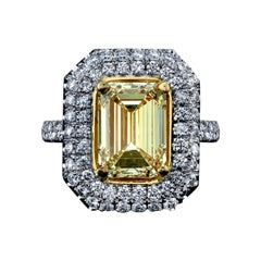 Emerald Cut Yellow Diamond Ring 4.01 Carats Plat/18KY GIA Certified