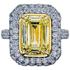 Emerald Cut Yellow Diamond Ring 5.01 Carat with 3.01 Carat Micro Pave GIA