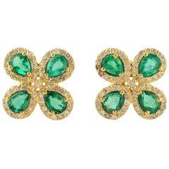 Emerald Diamond 14 Karat Gold Flower Stud Earrings