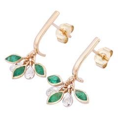 Emerald Diamond 14 Karat Gold Grass Dew Drop Earrings