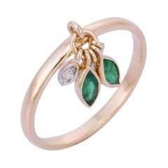 Emerald Diamond 14 Karat Gold Grass Dew Drop Ring