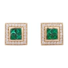 Emerald Diamond 14 Karat Gold Square Stud Earrings