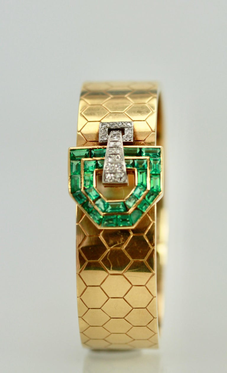 Retro Emerald Diamond 14 Karat Bracelet Honeycomb Strap For Sale