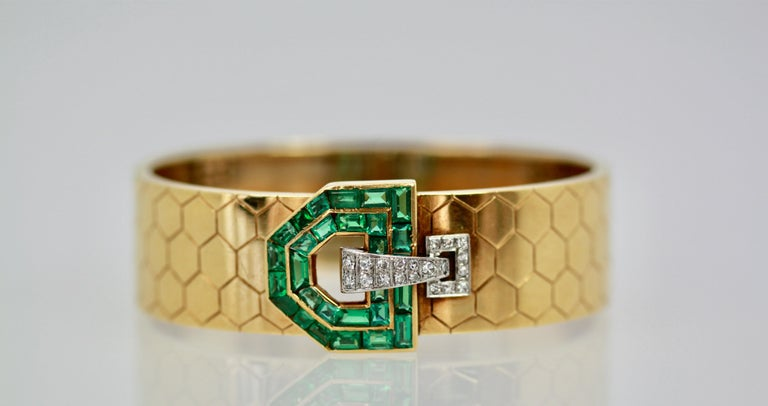 Emerald Diamond 14 Karat Bracelet Honeycomb Strap In Good Condition For Sale In North Hollywood, CA