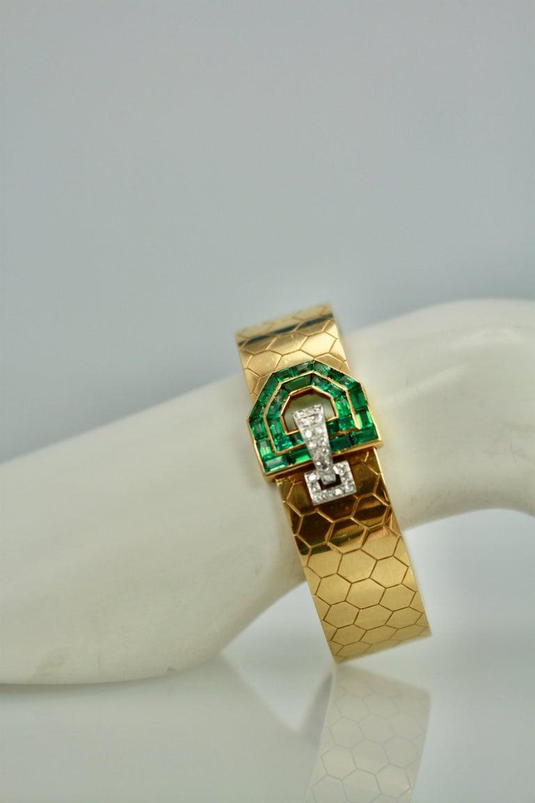 Women's Emerald Diamond 14 Karat Bracelet Honeycomb Strap For Sale