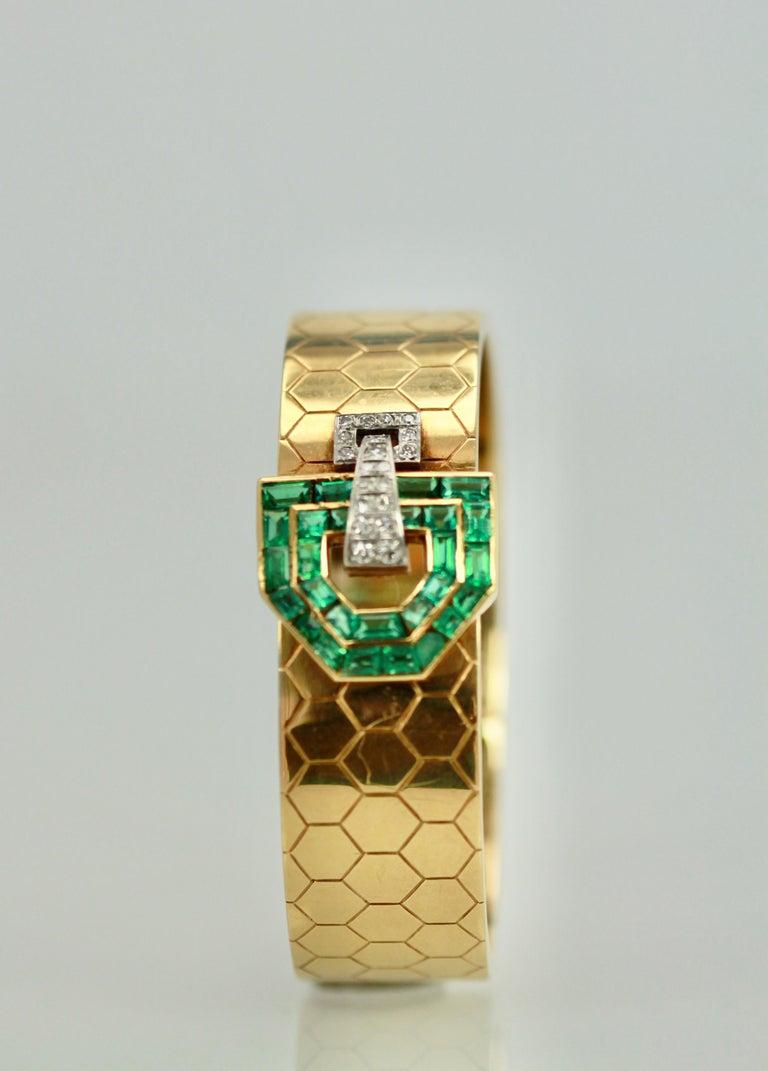Emerald Diamond 14 Karat Bracelet Honeycomb Strap For Sale 1