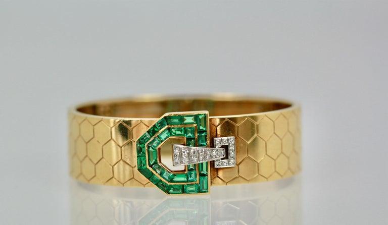 Emerald Diamond 14 Karat Bracelet Honeycomb Strap For Sale 2