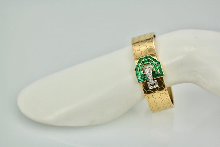 Emerald Diamond 14 Karat Bracelet Honeycomb Strap For Sale 3