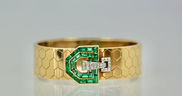 Emerald Diamond 14 Karat Bracelet Honeycomb Strap For Sale 4