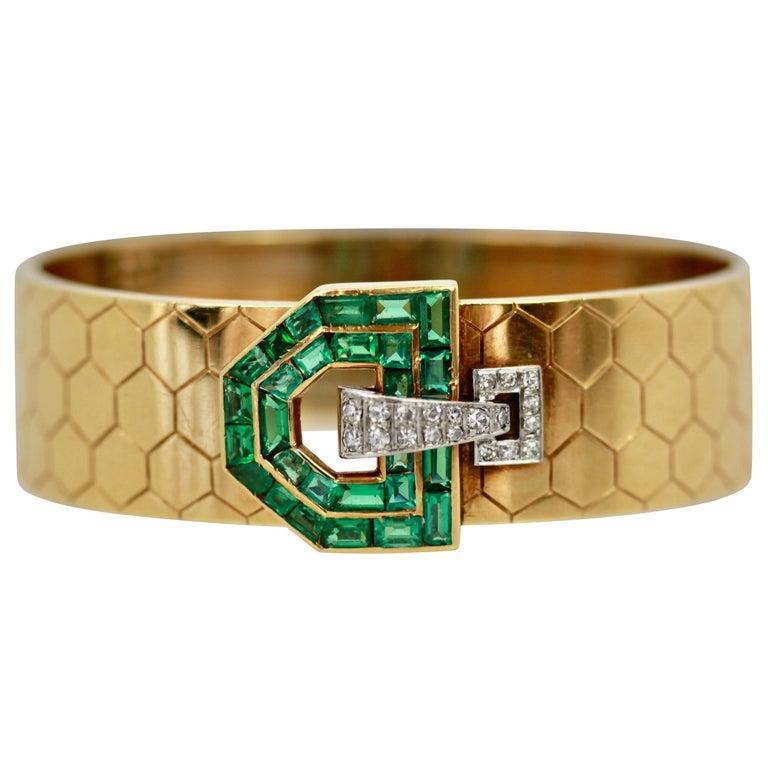 Emerald Diamond 14 Karat Bracelet Honeycomb Strap For Sale