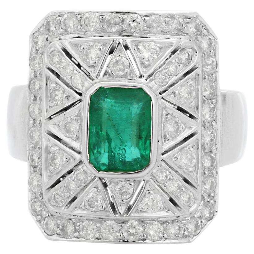 Emerald Diamond 18 Karat Gold Art Deco Style Ring