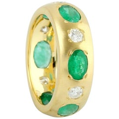 Emerald Diamond 18 Karat Gold Band Ring