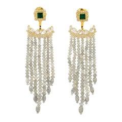Emerald Diamond 18 Karat Gold Earrings