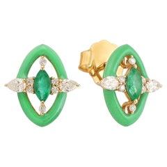 Emerald Diamond 18 Karat Gold Enamel Stud Earrings
