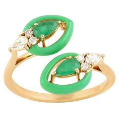 Emerald Diamond 18 Karat Gold Enamel Wrap Ring